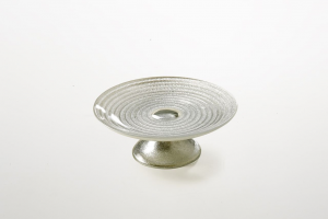 Alzata per dolci in vetro argento decorata a mano riflessi argento cm.6h diam.16