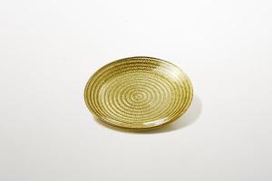 Piattino pane dolci in vetro oro decorato amano riflessi dorati cm.1,5h diam.16