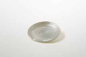 Piattino pane dolci in vetro argento decorato a mano riflessi argento cm.1,5h diam.16
