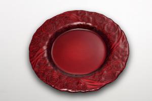 Piatto tondo in vetro rose rosso con oro dietro cm.diam.34