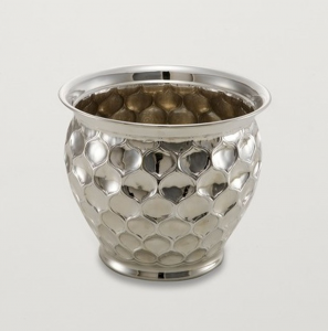 Vaso Fiori Cache Pot portapiante argentato argento sheffield stile goccia cm.20h diam.24,5