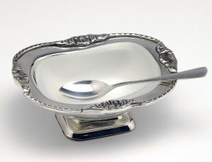 Zuccheriera argentata argento sheffield con vetro e cucchiaio stile perlinato cm.12x9,5x5h