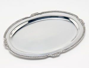 Vassoio argentato argento sheffield stile Regina Anna cm.31x22