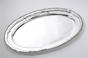 Vassoio ovale portata stile Rubans argentato argento sheffield cm.90x58