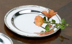Piattino pane argentato argento sheffield stile Rubans cm.diam.12