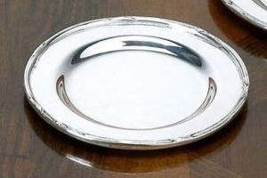 Piattino pane argentato argento sheffield stile Rubans cm.diam.10