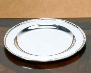 Sottobottiglia piattino pane argentato argento sheffield stile Rubans cm.diam.15