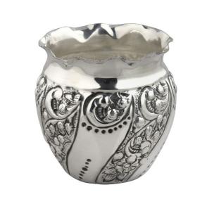 Vaso piccolo argentato argento sheffield stile cesellato cm.8,5h diam.8