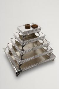 Portadolce rettangolare stile Cardinale argentato argento sheffield cm.50x40x12h