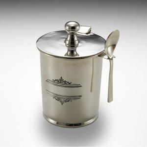 Porta marmellata argentato argento sheffield con vetro interno e cucchiaio stile inciso cm.11,5h diam.7,5