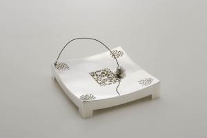 Portasalviette tovaglioli argentato argento sheffield stile inciso cm.22x22x5h