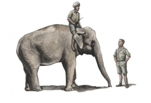 WWII RAF Mechanic in India+Elephant with Mahout (2 fig. + elephant)