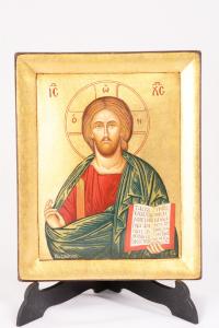 Icona Bizantina Cristo Pantocratore Dipinta a Mano 14x18 cm
