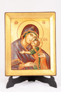 Icona Bizantina Madonna della Tenerezza Dipinta a Mano 14x18 cm