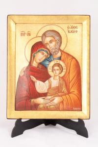 Icona Bizantina Sacra Famiglia Dipinta a Mano 20x25 cm