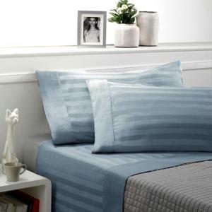 Set lenzuola matrimoniale 2 piazze raso di cotone ZEFIRO azzurro avio