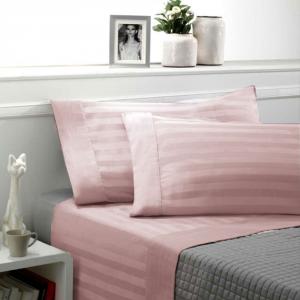 Set lenzuola matrimoniale 2 piazze raso di cotone ZEFIRO rosa