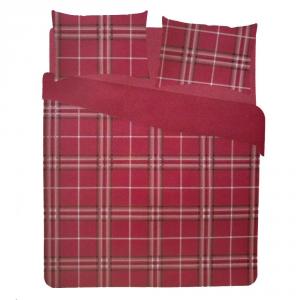 Set copripiumino matrimoniale 2 piazze in puro cotone scozzese QUADRI rossi