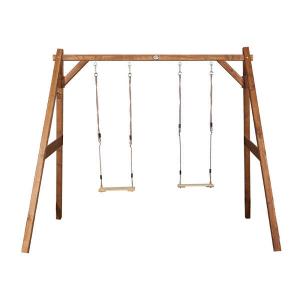 Altalena doppia in legno per giardino con telaio marrone di AXI