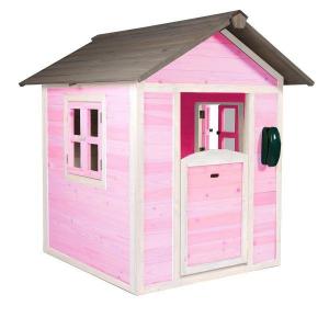 Casetta per Bambini in Legno di Cedro Lodge Bianco/Rosa by SUNNY