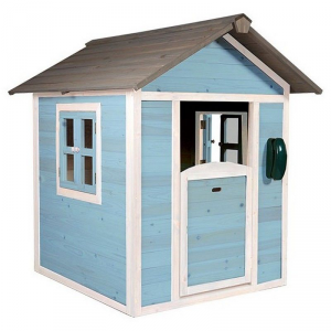 Casetta per Bambini in Legno di Cedro Lodge Bianco/Blu SUNNY
