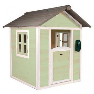 Casetta per Bambini in Legno di Cedro Lodge Bianco/Verde SUNNY