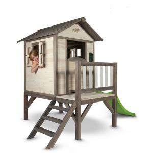 Casetta per Bambini in Legno con scivolo e veranda Lodge XL SUNNY