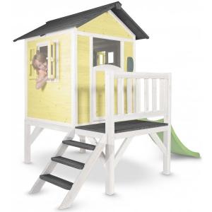 Casetta per Bambini in Legno con scivolo e veranda Lodge XL Gialla SUNNY