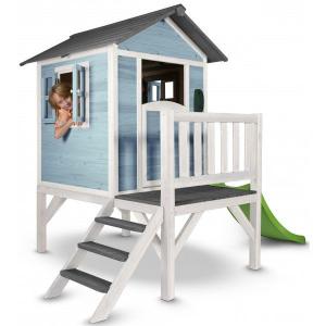 Casetta per Bambini in Legno con scivolo e veranda Lodge XL Blu SUNNY