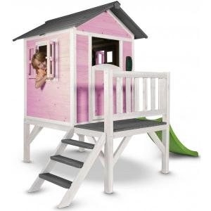 Casetta per Bambini in Legno con scivolo e veranda Lodge XL Rosa Sunny