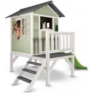 Casetta per Bambini in Legno con scivolo e veranda Lodge XL Verde Sunny