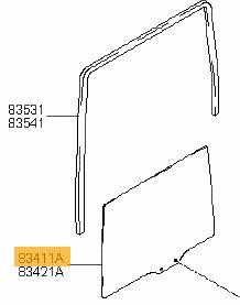 Vetro scendente posteriore sinistro Hyundai Matrix