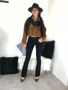 Pantalone jeans nero donna elasticizzato a zampa di elefante vita alta TG XS/S/M/L