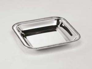 Cestino quadro stile Regina Anna argentato argento sheffield cm.25x25x4h