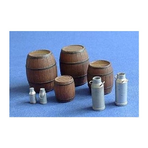 WOODEN BARRELS AND MILK CANS