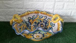 Centrotavola ceramica blu quadrato