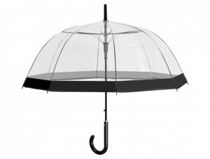 Ombrello trasparente a cupola donna automatico con bordo nero stampato cm.diam.89