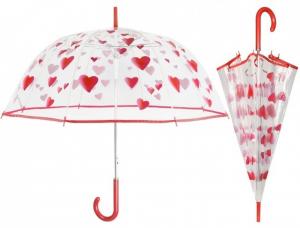 Ombrello Cupola Trasparente Donna con stampa cuori rossi cm.diam.89