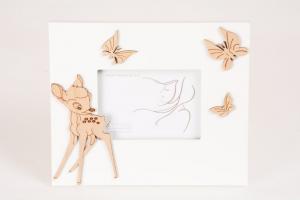 Portafoto Legno Bianco Bambi e Farfalle 7x10 cm