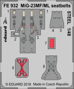 MiG-23MF/ML seatbelts STEEL EDUARD/TRUMPETER