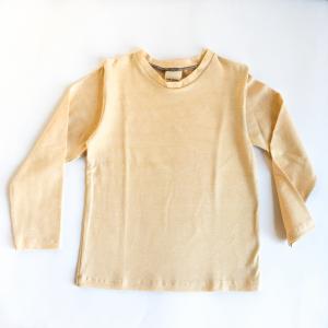 Maglia manica lunga in cotone biologico righe giallo ocra