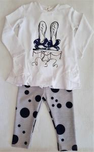Completo da neonata con pois bianco e blu