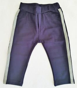 Pantaloni da neonata blu con banda laterale