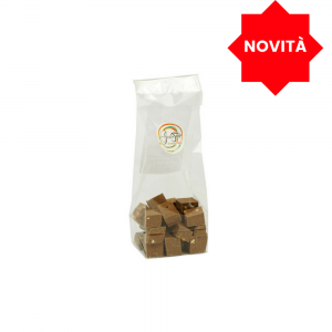 Cubes of milk chocolate with extra virgin olive oil, pack of 90 grams;