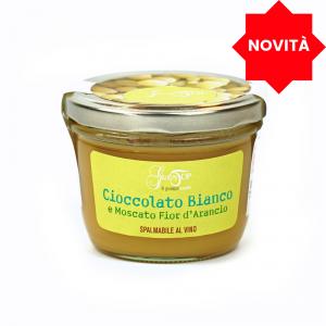 Crema al Cioccolato Bianco  e Fior d'Arancio confezionato in vasetto da 200 gr