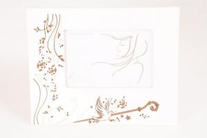 Portafoto (Cresima) Legno Bianco Colomba e Pastorale 10x15 cm