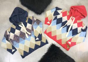Maxi maglione donna in fantasia a rombi con cappuccio e fibra in lurexTG unica
