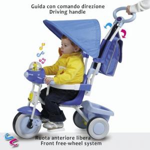 Triciclo da spingere per bambini con accessori Colore Celeste, Biemme