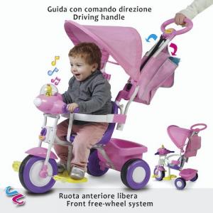Triciclo da spingere per bambini con accessori Colore Rosa, Biemme