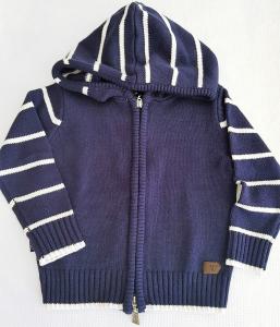 Maglioncino neonato 3-30 mesi blu con cappuccio